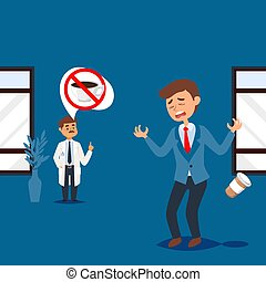 Doctor forbids coffee, upset man with medical restriction diet, people in healthcare clinic, vector illustration