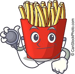 Doctor french fries above cartoon table wood