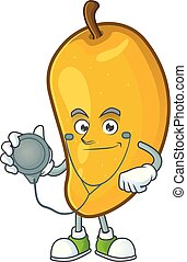 Doctor fresh mango character cartoon with mascot