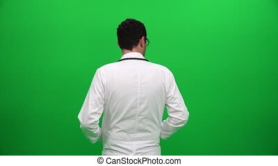 Doctor From Behind On Green Screen