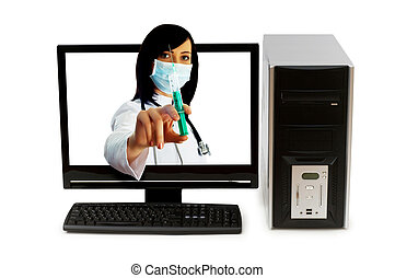 Doctor from computer screen - Healthcare or computer...
