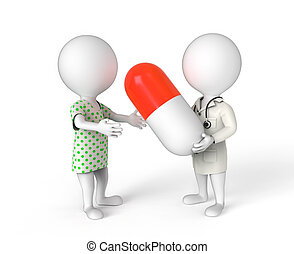 Doctor gives a pill to patient - 3D little person as doctor...