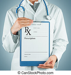 Doctor gives prescription paper