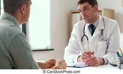 doctor giving prescription for patient at clinic - medicine,...