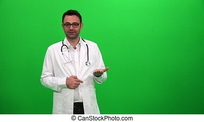 Doctor Giving Presentation Green Screen Background