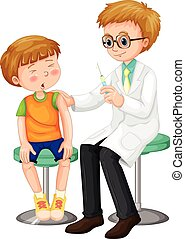 Doctor giving shot to the boy
