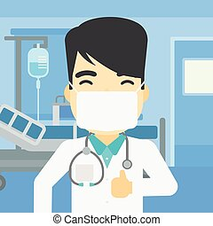 Doctor giving thumb up vector illustration.