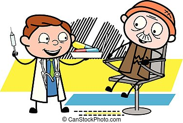 Doctor Giving Treatment to a Old Patient - Professional Cartoon Doctor Vector Illustration
