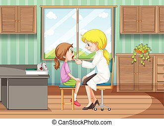 Doctor giving treatment to girl in clinic