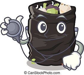 Doctor grabage bag isolated with the mascot vector illustration