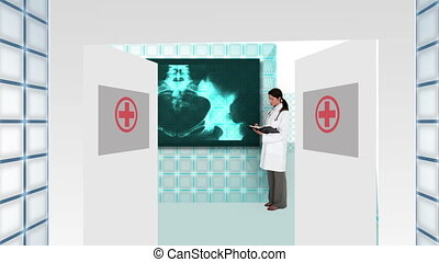 Doctor guiding you into futuristic hospital interface with ...