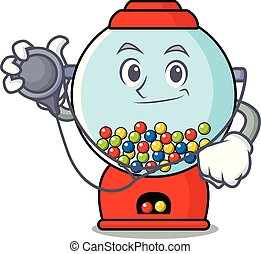 Doctor gumball machine character cartoon