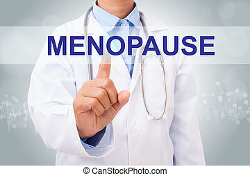 Doctor hand touching MENOPAUSE sign on virtual screen....
