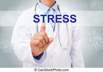 Doctor hand touching stress sign on virtual screen. medical concept