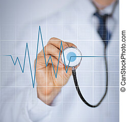 doctor hand with stethoscope listening heart beat - picture...