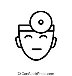 Doctor head, ophthalmologist with head mirror isolated line...