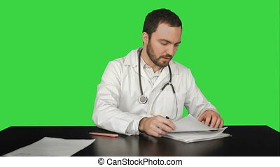 Doctor, Healthcare And Medicine, Problems with documents on a Green Screen, Chroma Key