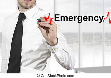 doctor hearbeat line emergency - doctor with necktie drawing...