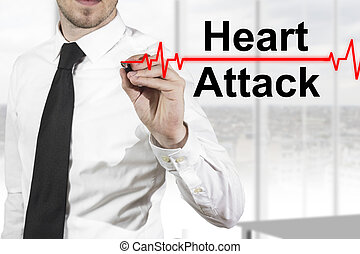 doctor heartbeat line heart attack - doctor with necktie...