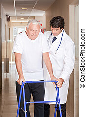Doctor helping Patient use Walker