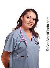 doctor, hispano, hembra, enfermera, blanco, o