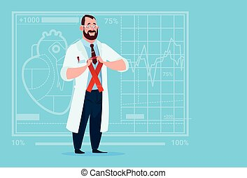 Doctor Hold Cancer Ribbon Disease Prevention Medical Clinics Worker Hospital