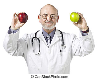 doctor holding a green and red apple - Smiling Doctor...