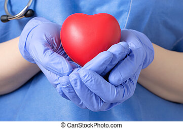 Doctor holding a heart - Female doctor holding a red heart...