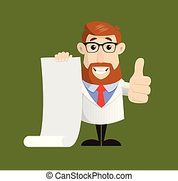 Doctor - Holding a Paper Scroll and Showing Thumbs Up