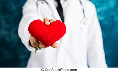 Doctor holding a red heart toy