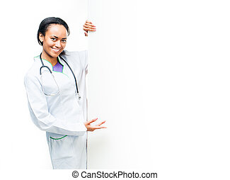 doctor holding a white blank board