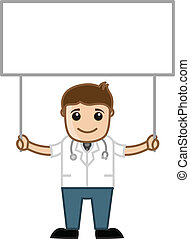 Doctor Holding Blank Ad Board