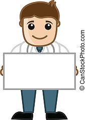 Doctor Holding Blank Banner