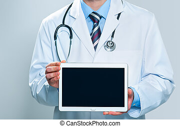 Doctor holding blank digital tablet