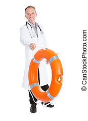 Doctor Holding Buoy