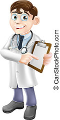 An illustration of a friendly cartoon doctor holding a clipboard and pointing at it