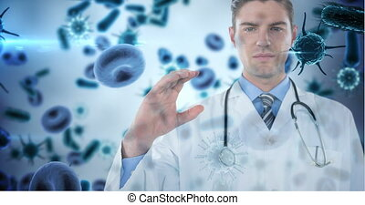 Doctor holding invisible object against bacteria cells 4k
