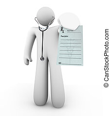 Doctor Holding Prescription - Blank Form - A doctor holds a ...