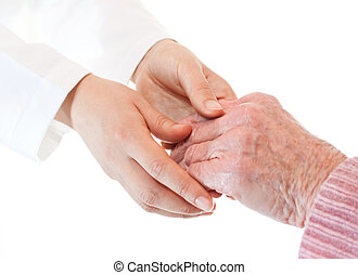 Doctor holding senior lady's hands over white background