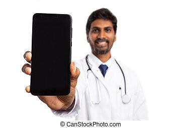 Doctor holding smartphone vertical