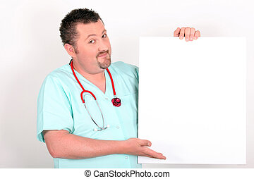 Doctor holding up a blank sign