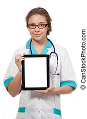 Doctor holding up and showing digital tablet with a blank screen.