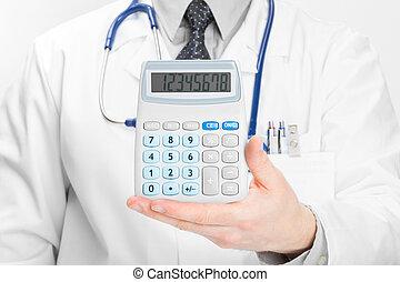 doctor, holdling, en, el suyo, mano, calculadora, -, brezo, cuidado, concepto