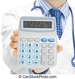 Doctor holdling in his hand calculator - 1 to 1 ratio - ...