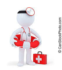 Doctor holds life buoy