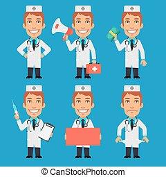 Doctor Holds Syringe Megaphone Money Paper