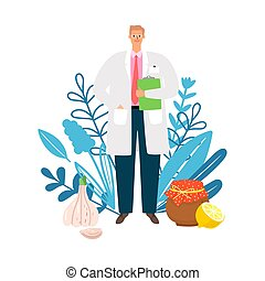 Doctor homeopath. Naturopath, treatment with natural products. Doctor, herbs and traditional medicine vector illustration
