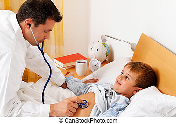 doctor house call. - a physician house call. examines a sick...