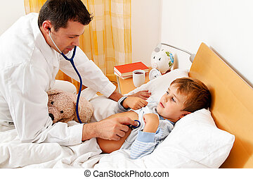 doctor house call. examines sick child. - a physician house...