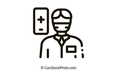 Doctor Human Icon Animation. black Doctor Human animated icon on white background